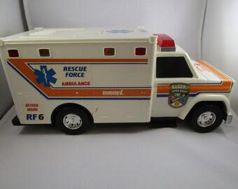 BuddyL Ambulance, Toy Ambulance, Flashing Lights, 1993, Super Brute Rescue