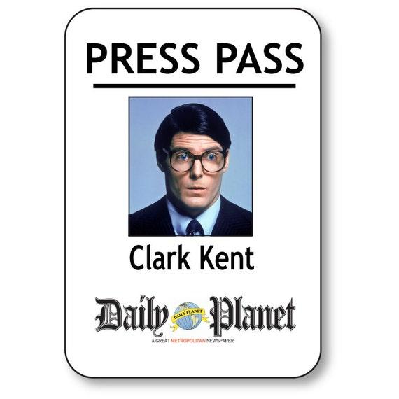 CLARK KENT SUPERMAN Daily Planet Press Pass Pin Fastener ...