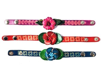 Genuine Leather Bracelet, Flowers Leather Bracelet, HFF150105