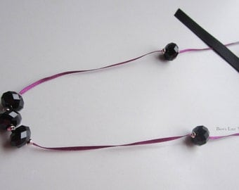Plum Satin Bow Necklace Featuring Swarovski Jet Briolette Beads & Antique Silver Beads, Swarovski Beaded Necklace