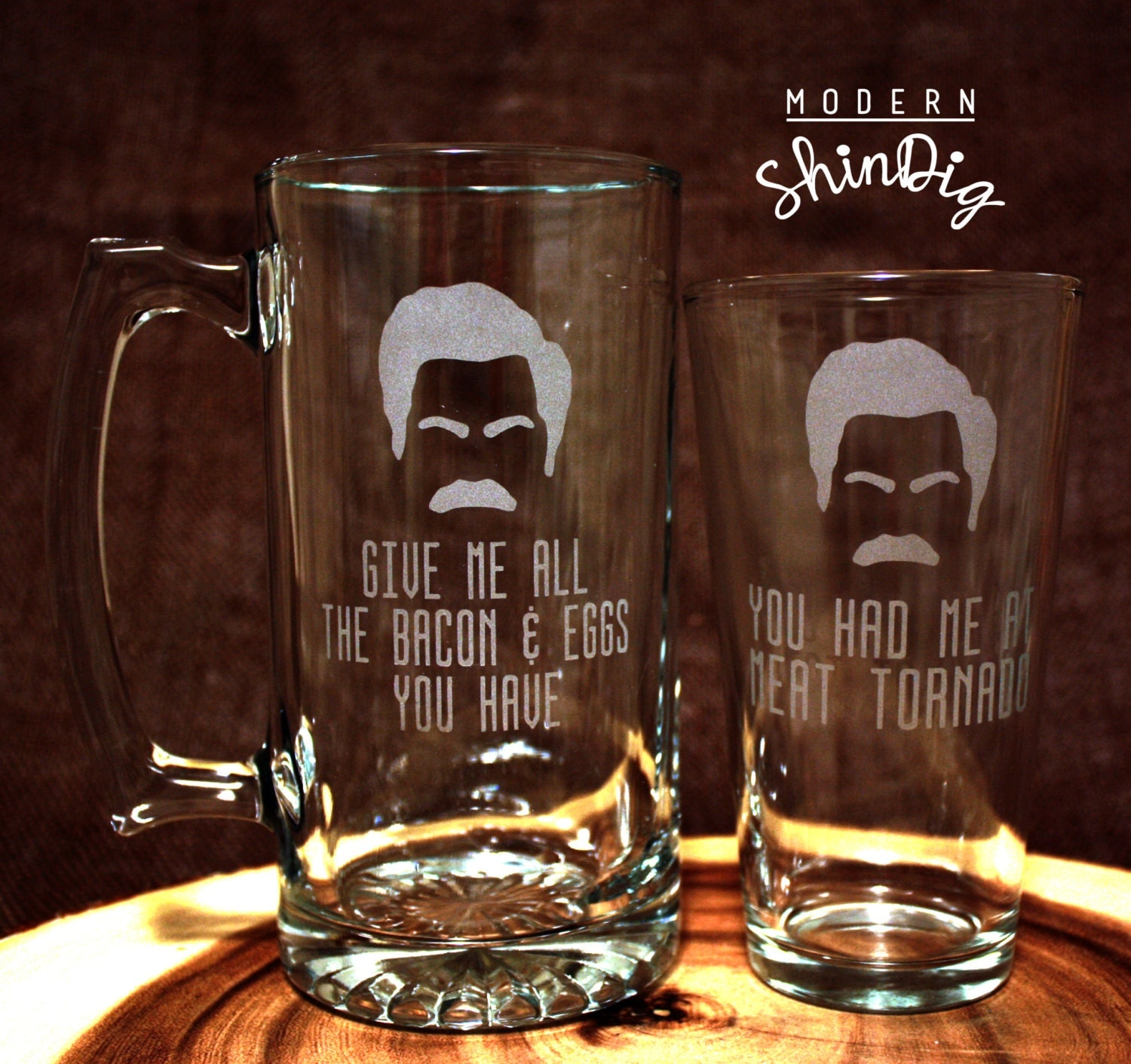 Ron Swanson Quotes Etched Glasses Beer Mug or Pint Glass