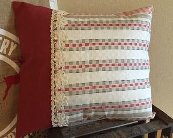 1920s Fabric Pillow, Father's Day Gift Vintage Repurposed Woven Linen European Pillows Decorative Throw Pillowcase Red White Striped Decor