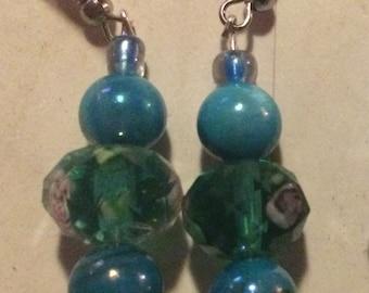 Dark teal dangle earrings