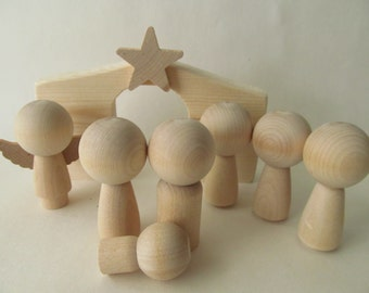 Nativity Set-Wooden Nativity Set with Kokeshi or Peg dolls-Unfinished, unpainted, DIY, blank nativity set : 8-piece