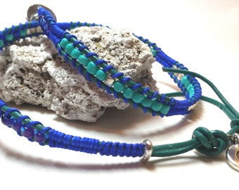 Turquoise leather strap and cobalt double wrap - Leather Wrap Bracelet