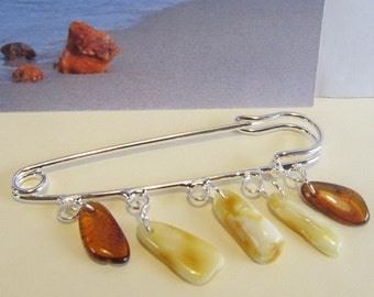 100% Natural Baltic #amber #Vintage #brooch 5 suspenders steel clasp opaque white yellow egg yolk butterscotch polished beads all ages