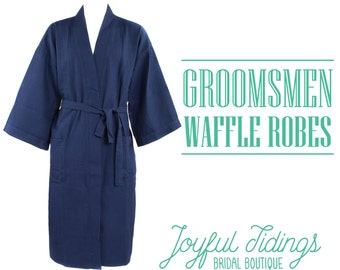 Personalized Men's Waffle Robes, Groomsmen's Robe, Groomsmen's Gifts, Wedding Gifts, Couple's Gifts, Gifts for Dad, Groomsmens Wedding Party