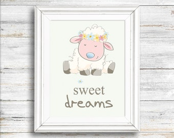 Nursery art, Lamb print, Dreams do come true, Digital Download Print,  Wall decor, animal print, Instant download, Wall art, Home decor
