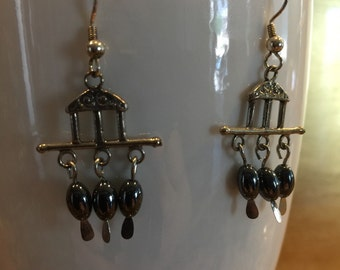 Hematite pyramid earrings