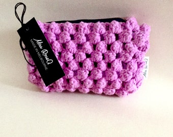 Crochet purple/pink Bobble Stitch Purse