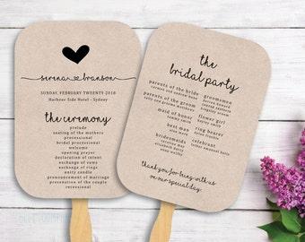 Printable Wedding Fan Program - FP01