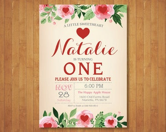 Valentine Birthday Invitation. Our Little Sweetheart Birthday Invitation. Floral. Girl or Boy 1st First Birthday Party. Printable Digital.