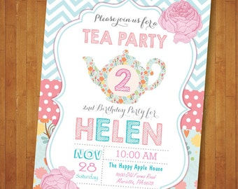 Tea for two Invitation. Tea Party Invitation. Tea Party Birthday Invitation. Tea for 2. Second 2nd Birthday Invite Floral. Printable Digital