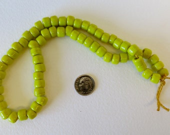 Lime Green Color Chezck Glass Beads Strand - Beautiful - #0030