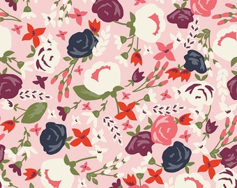 Posy Garden Main Pink by Riley Blake Designs - Navy Flowers Floral - Quilting Cotton Fabric - choose your cut