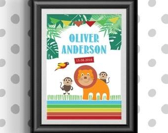 Childrens Jungle Print, Personalised, Personalized, Custom, Nursery, Kids, Children, Decor