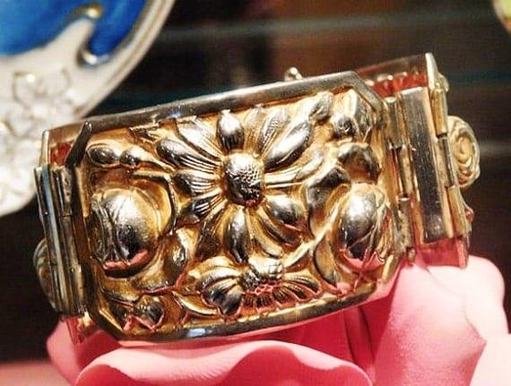 Victorian Bracelet / Repousse / Art Nouveau/ Antique Cuff / Gold Wash / Roses Daisies