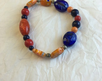 Fall Color Bracelet - Warm Color Bracelet - Orange and Blue Beaded Bracelet - Orange and Red Beaded Bracelet