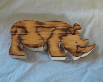 Wooden Rhino Jigsaw Puzzle handmade