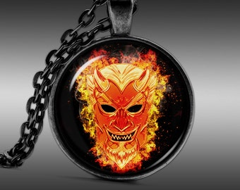 Devil Necklace, Hell Jewelry, Horror Pendant  Pendants Charm Choker Chain FRW268