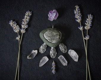 River stone pendant, handmade, motherearth