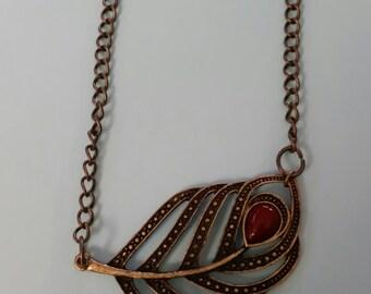 Bronze Falling Leaf Necklace