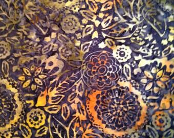 Batik - Navy Blue, Orange, Green Flower Swirls