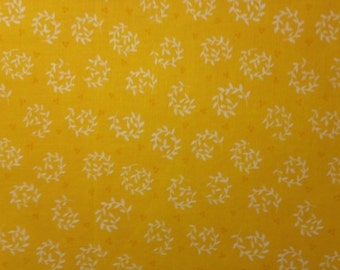Circles of White Leaves on Bright Yellow Background, 100% Cotton