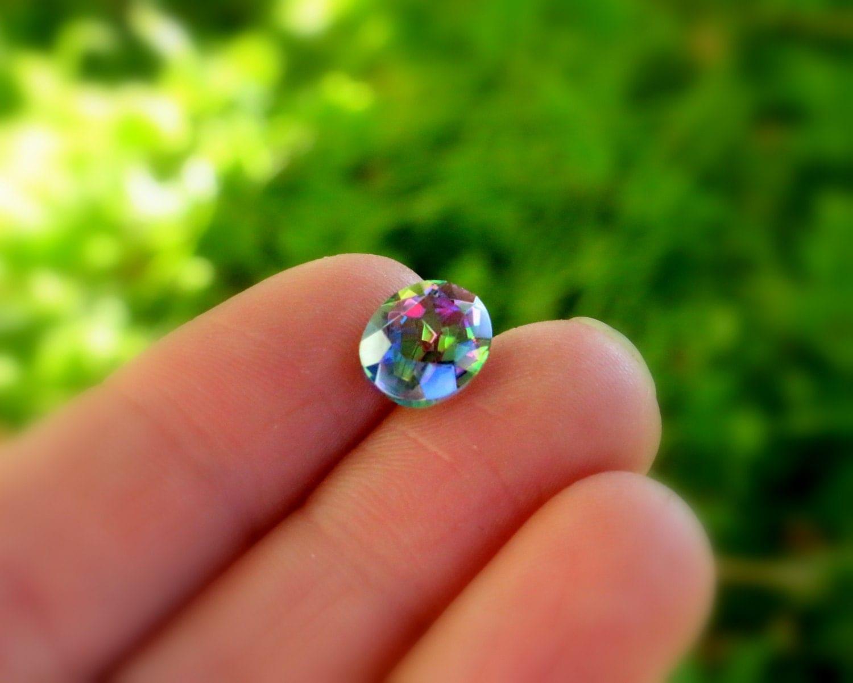 rainbow mystic quartz 10x8mm gemstones by fireflashgems