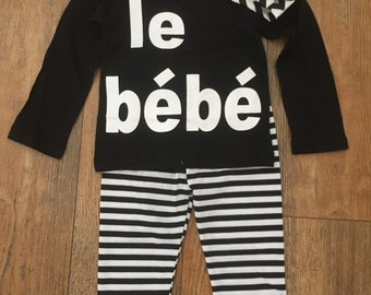 "Infant Cotton Knit ""LeBebe"" Outfit 6 mos size with head band"