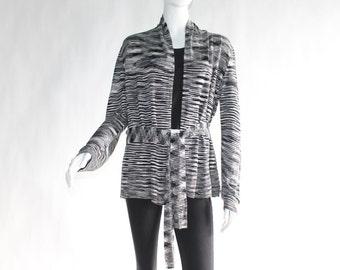 Vintage Striped (Black, Grey, White) Cardigan /Sweater - Size MEDIUM to LARGE