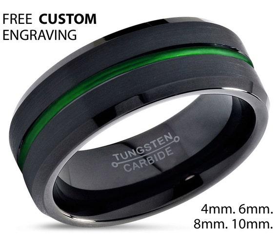 tungsten ring mens black green wedding band tungsten ring