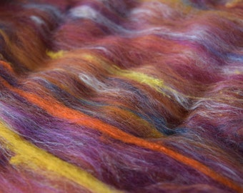 Flower Fairy Riot - BIG carded wool batt for spinning and felting - 3.65 oz