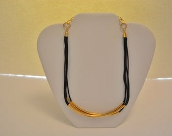 16in Gold and Leather Necklace