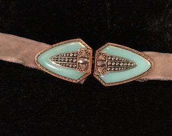 Sale ...Art Deco CZECH POURED GLASS BUCKLe Sash Marcasite Turquoise Gold Tone 3 inch Deco V Design Belt Buckle Stamped Czechoslovakian