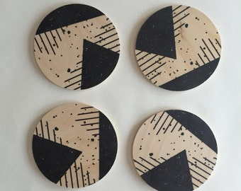 Abstract coasters, geometric coasters, wood coasters, black and white coasters, black and white kitchen decor, memphis style, 80s, splatter