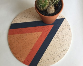 Triangle giant wood coaster, Mid century modern gift, mid century modern decor, large coaster, centerpiece, plant plate, plant tray