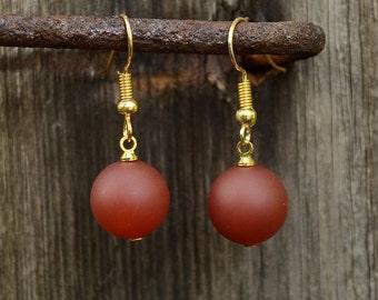Matte red agate earrings, Red agate earrings, Gold plated agate earrings, Agate earrings, Agate gold earrings, Red agate drop earrings.