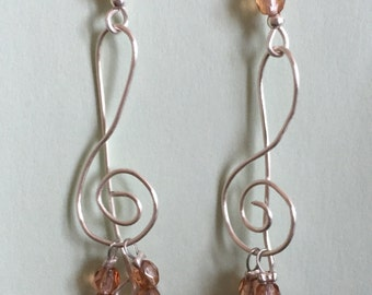 Clé de sol silver-plated champagne crystal earrings
