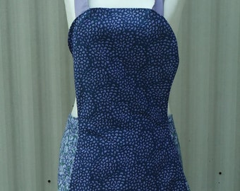full apron, womens apron, vintage style apron, purple apron