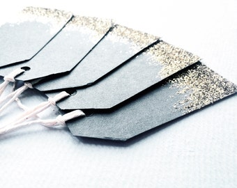 Gold glitter and grey gift tags