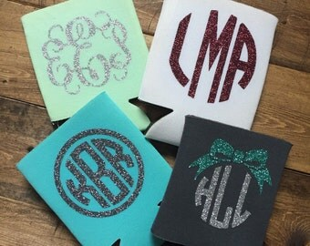 Glitter Monogrammed Can Huggie | Can Cozy | Can Cooler | Bridesmaid Gift | Monogrammed Coolie Cup