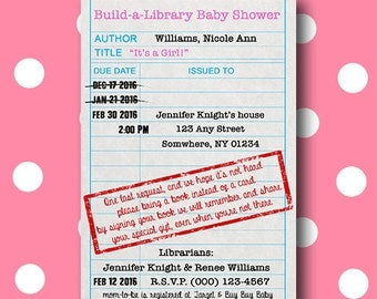 Build-a-Library: Baby Library Card Shower Invitation