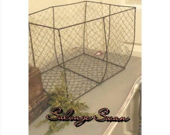 Farmhouse Wire Basket, Large Rustic Wire Basket, French Country Basket Decor, Basket Prop, Farmhouse Decor