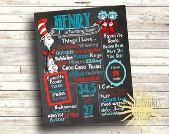 Dr. Seuss - Cat in the Hat - Chalkboard Birthday Stat Poster - Digital Print File