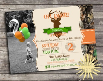 Camouflage Hunting Birthday Party Invitation - with Picture - Deer Head  - Digital File