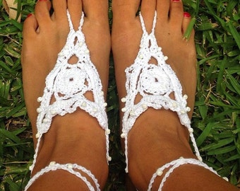 Crochet, beaded, hippie, barefoot sandals, boho wedding shoes, nude shoes, barefoot jewellery, beach wedding, barefoot shoes, yoga shoes.