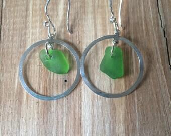 Sterling Silver Green Sea Glass Earrings