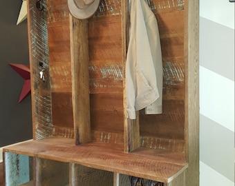 Reclaimed barnwood entryway, foyer cabinet