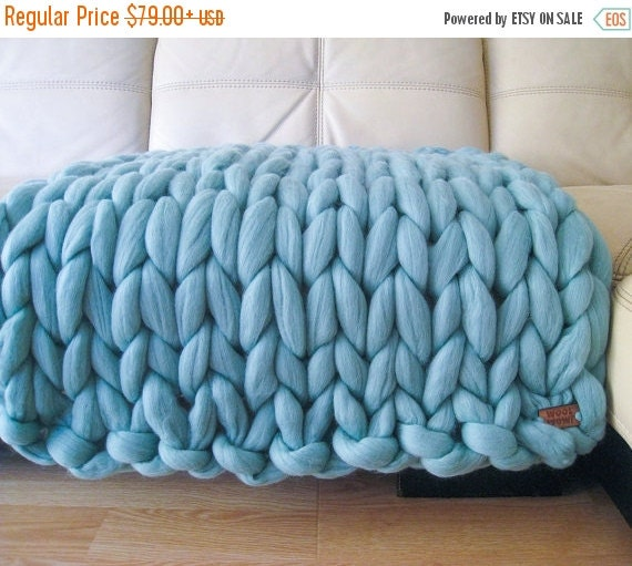 Super Chunky Baby Blanket Giant Knitted Merino Wool By